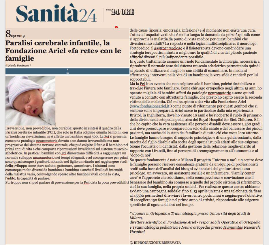 paralisi cerebrale infantile portinaro sole 24 ore articolo