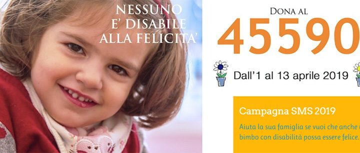 campagna sms fondazione ariel 2019 paralisi cerebrale